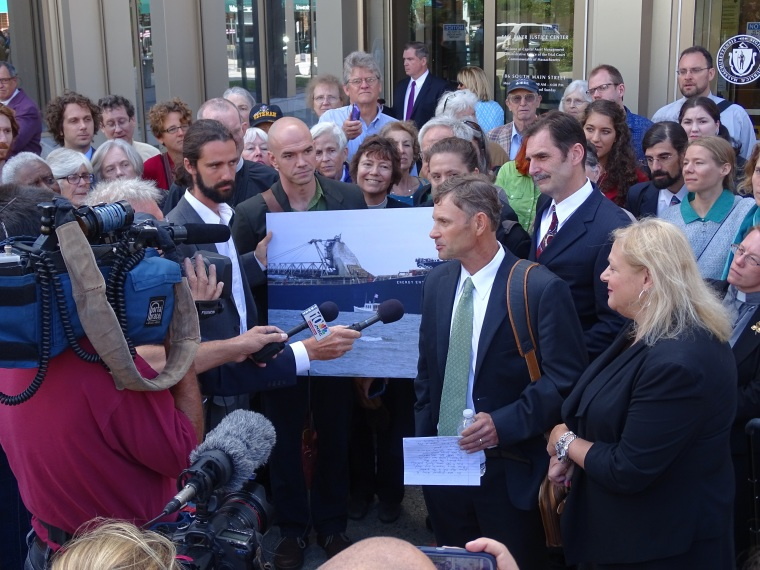 Crowd Gathers for Statements at Lobster Boat Blockade Climate Trial