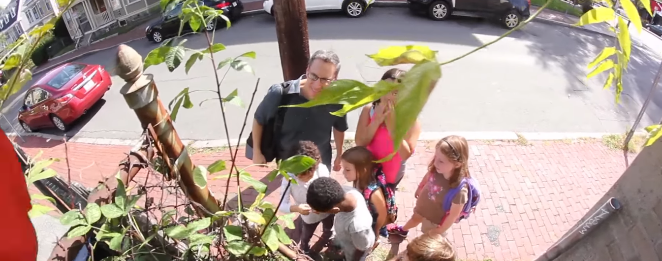 Peter Bowden and Children Exploring Nature in City
